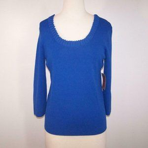 Cable & Gauge Top Shirt Large Pleated Scoop Neck Stretch Blue 3/4 Sleeves NEW